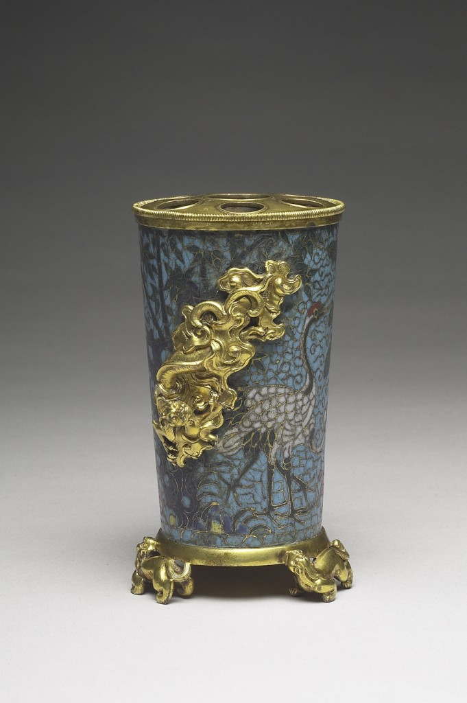 Flower vase. Ming dynasty (1368–1644). Copper alloy with cloisonné enamel inlays.  National Palace Museum, Taipei, Gufa 000761 Lü 1847-38. Photograph © National Palace Museum, Taipei.