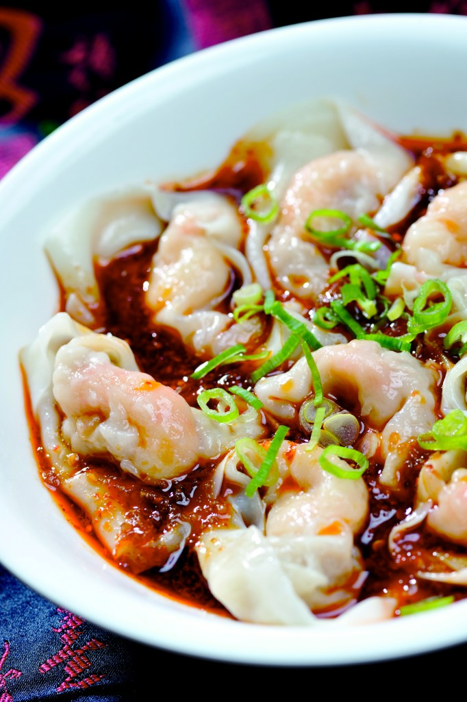 Shrimp and Pork Wontons with Spicy Sauce