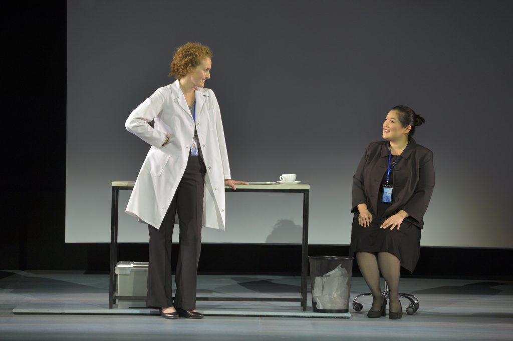 Hilary (Brenda Meaney) works on an experiment with Bo (Narea Kang), a mathematician, in the West Coast premiere of Tom Stoppard's The Hard Problem, playing at A.C.T.'s Geary Theater through November 13, 2016.