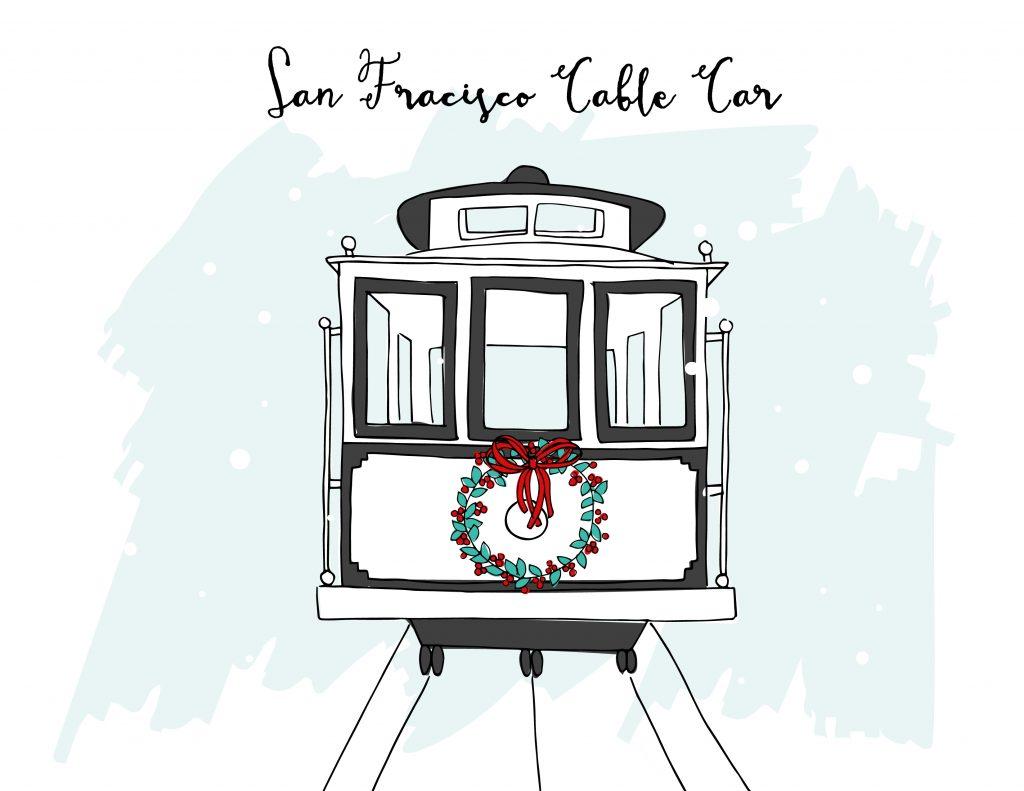 holiday illustrations san francisco cable car