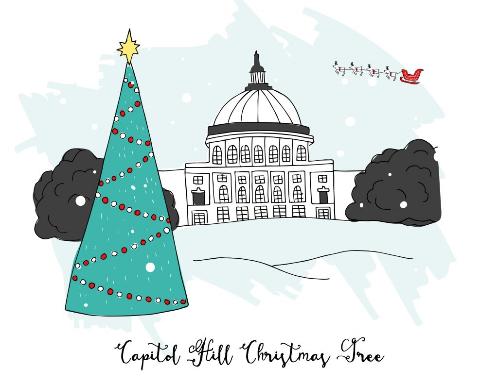 holiday illustrations dc capitol christmas tree