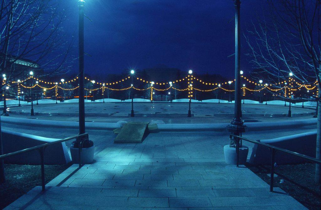 National Gallery of Art Sculpture Garden Ice Rink at Night. National Gallery of Art, Washington