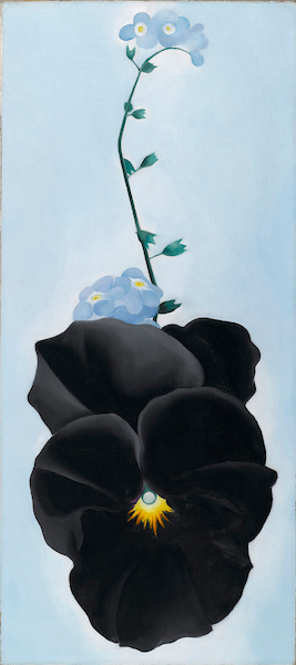 Georgia O'Keeffe (American, 1887?1986). Black Pansy & Forget-Me-Nots (Pansy), 1926. Oil on canvas, 27? x 12¼ in. (68.9 x 31.1 cm). Brooklyn Museum; Gift of Mrs. Alfred S. Rossin, 28.521. © Georgia O'Keeffe Museum/Artists Rights Society (ARS), New York. (Photo: Christine Gant, Brooklyn Museum) The image may only be reproduced with the strict understanding that it will not be cropped or altered in any way, bled to the edges, guttered, wrapped around the outside cover, nor superimposed with any printing. The image must have a white border of appropriate size. Full credit must be given for the image.