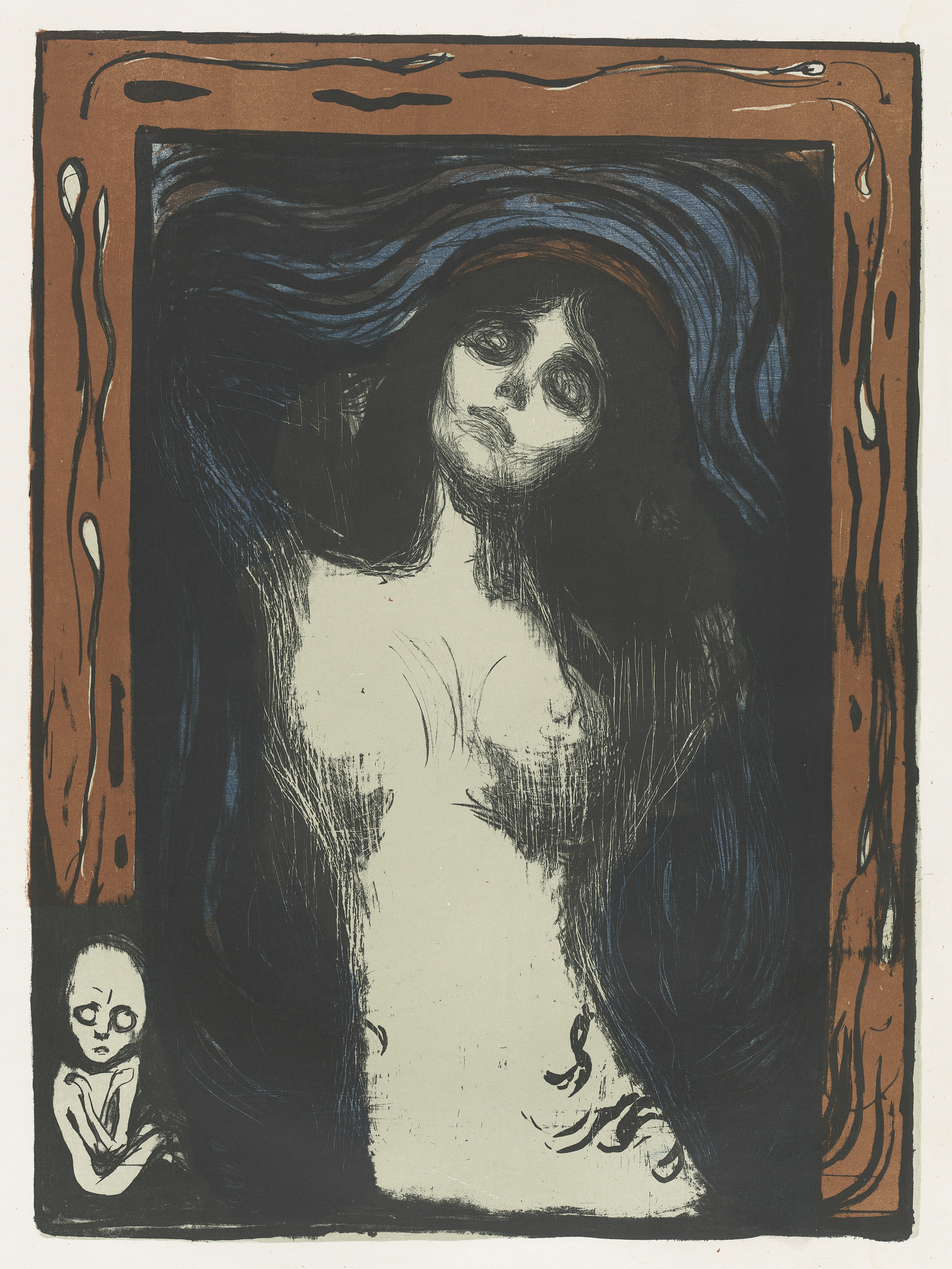 Edvard Munch Madonna, 1895, printed 1913/1914 color lithograph overall: 60.01 x 44.13 cm (23 5/8 x 17 3/8 in.) National Gallery of Art, Washington, Gift of The Epstein Family Collection