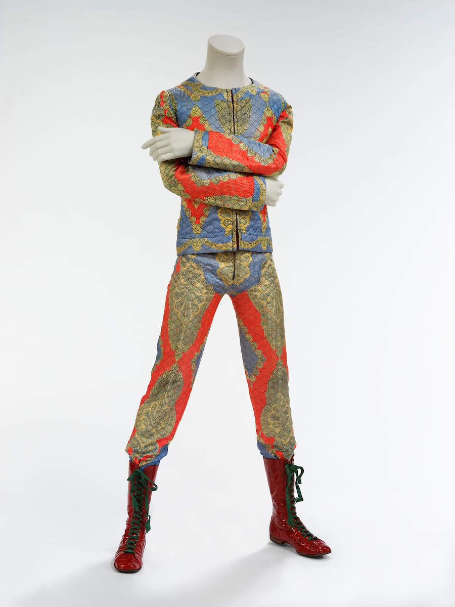 Quilted two-piece suit, 1972. Designed by Freddie Burretti for the Ziggy Stardust tour. Courtesy of The David Bowie Archive. Image © Victoria and Albert Museum