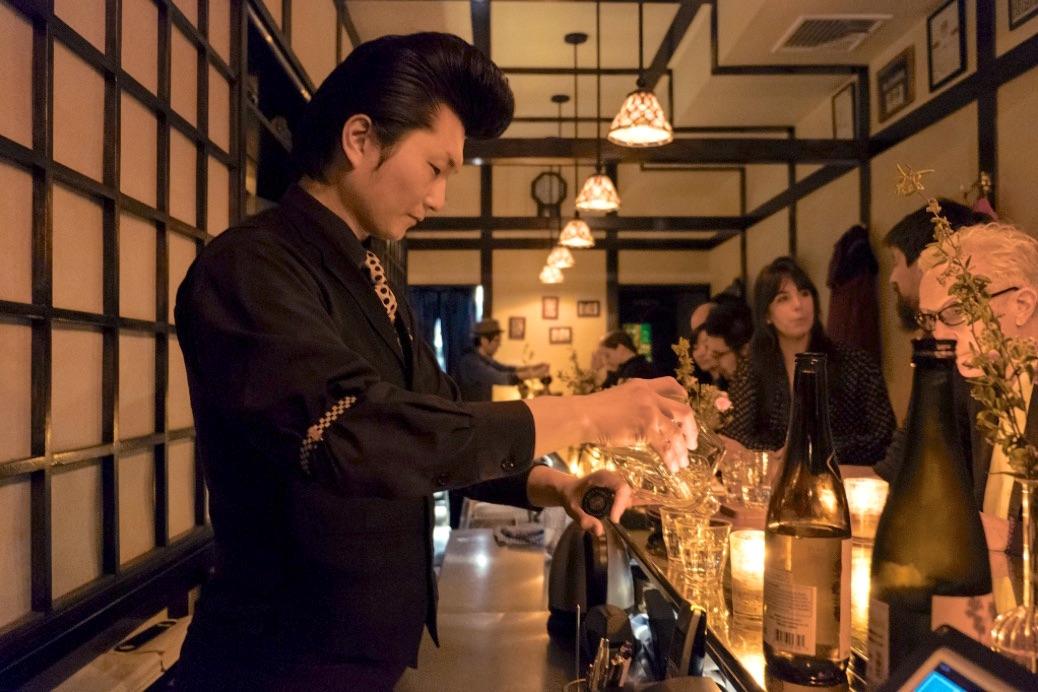 sake bar in new york city bartender making cocktails