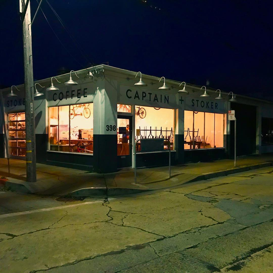 night view of exterior of cafe