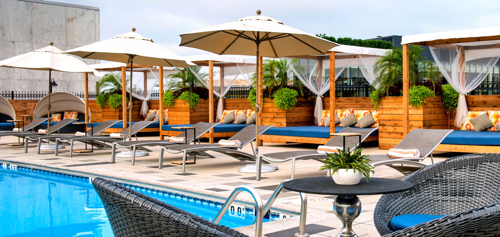 Liaison DC Rooftop Pool with Umbrellas